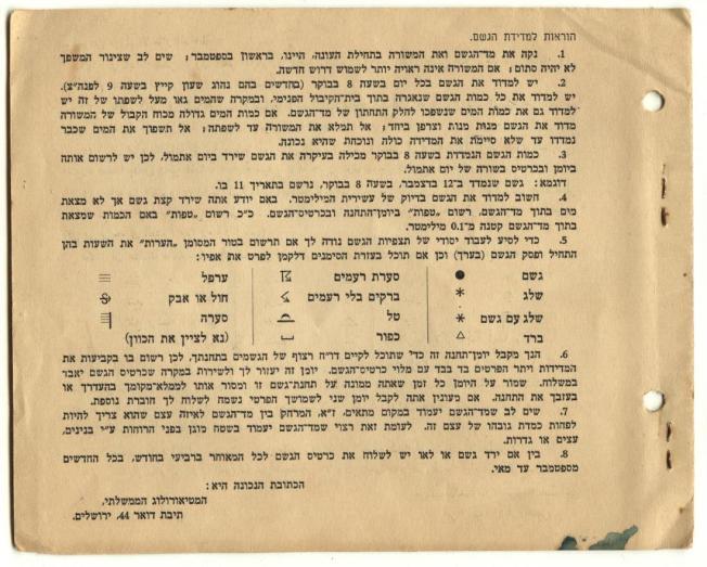 יומן גשם 1950-51 הוראות מילוי